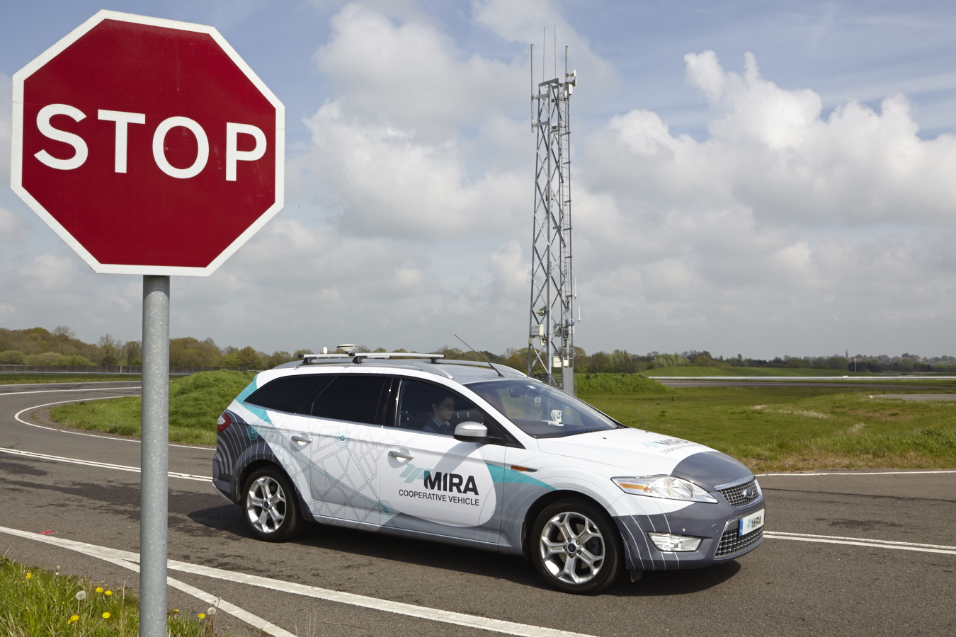 MIRA test car and stop sign