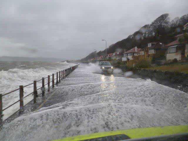Coastal flooding on A78 in Scotland