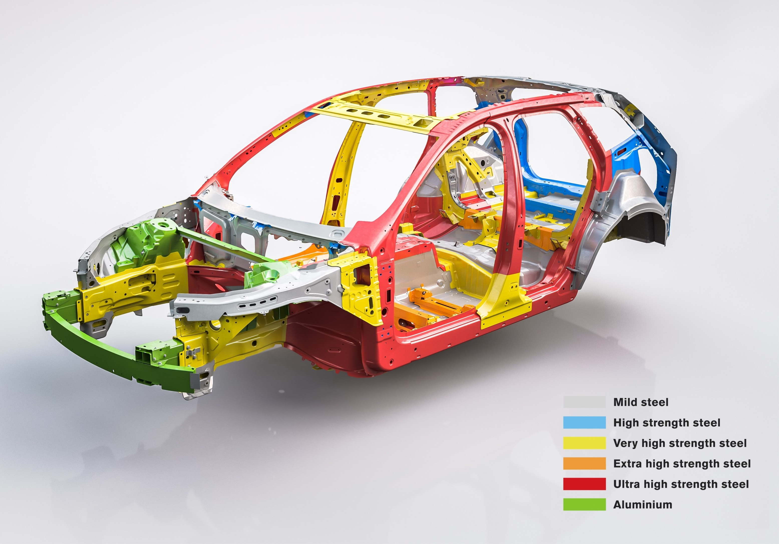 Different steel grades used in Volvo XC60 body structure