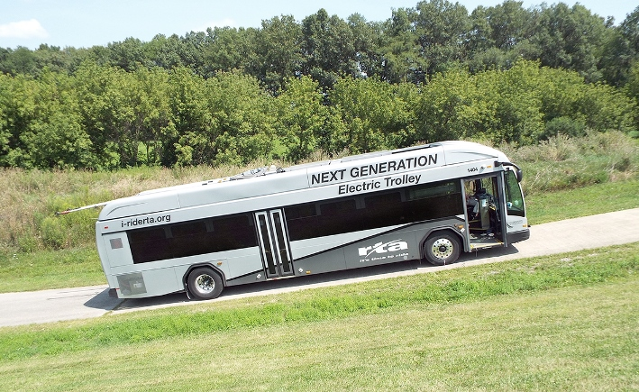 Electric bus with IMC technology on the Altoona test track in Pennsylvania