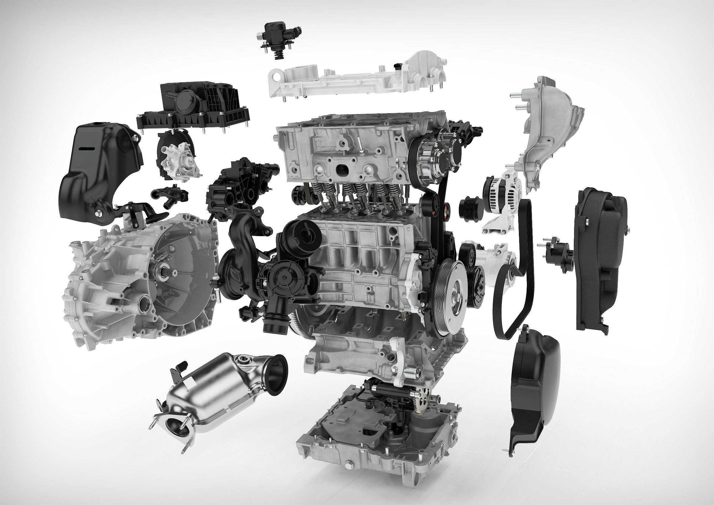 Exploded view of Volvo 3-cylinder 1.5 litre Drive-E engine for the XC40