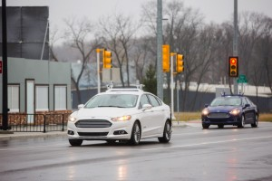Ford autonomous research vehicles at MCity testing grounds