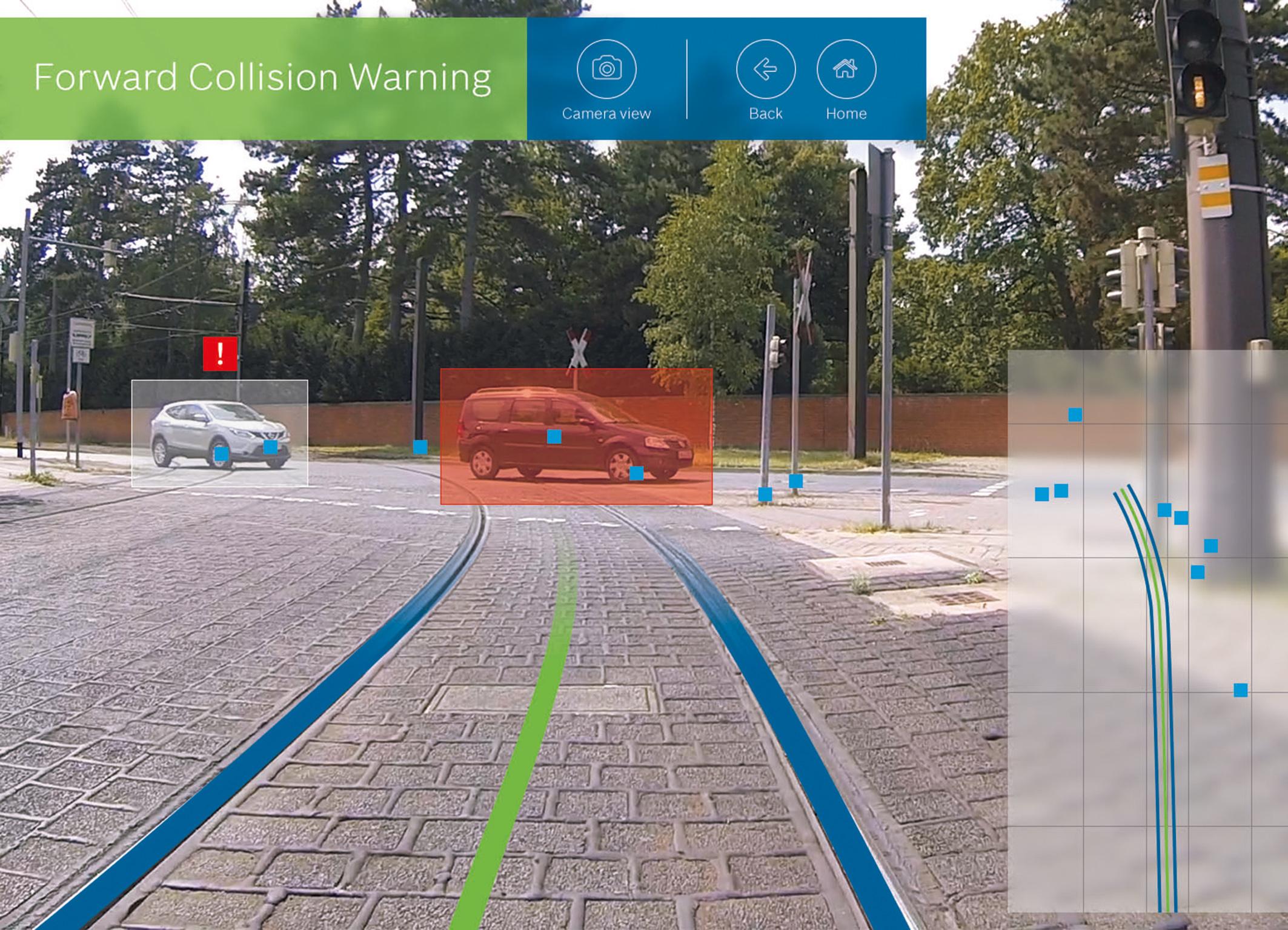Forward collision warning for Frankfurt trams