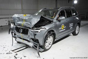 Frontal full width crash test of Volvo XC90