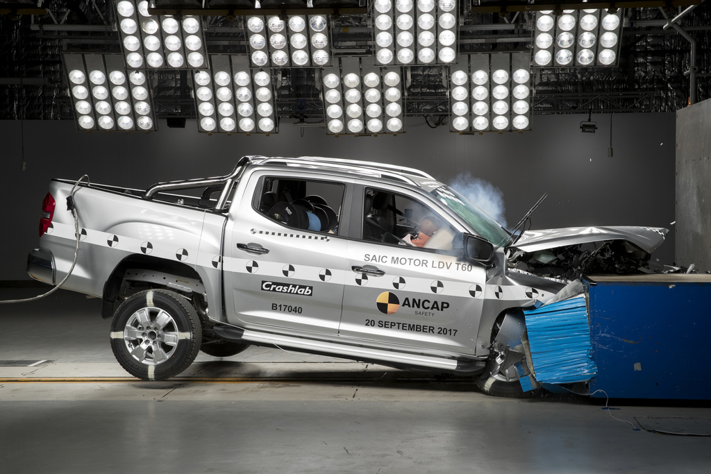Frontal offset crash test on Chinese LDV T60 pickup truck