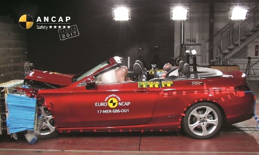 Mercedes C-Class Cabriolet frontal offset crash test