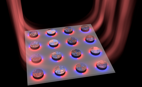 Nanoparticle array with dye molecules acts as tiny dark mode laser