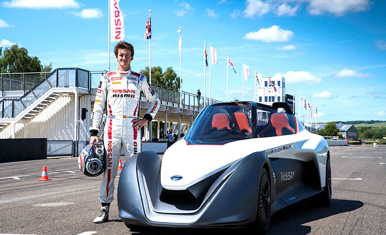 Nissan BladeGlider EV takes to the track at Goodwood
