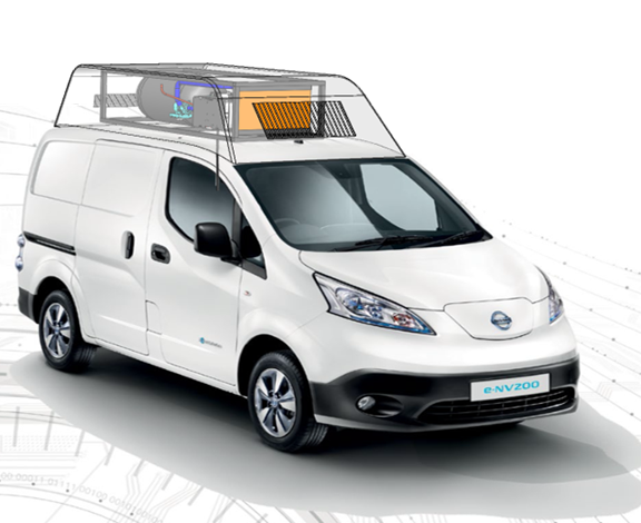 On-board hydrogen storage and fuel cell module for Nissan