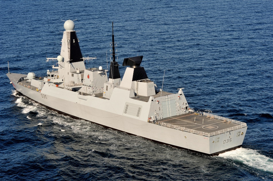 RN Type 45 Destroyer HMS Dragon with hybrid power