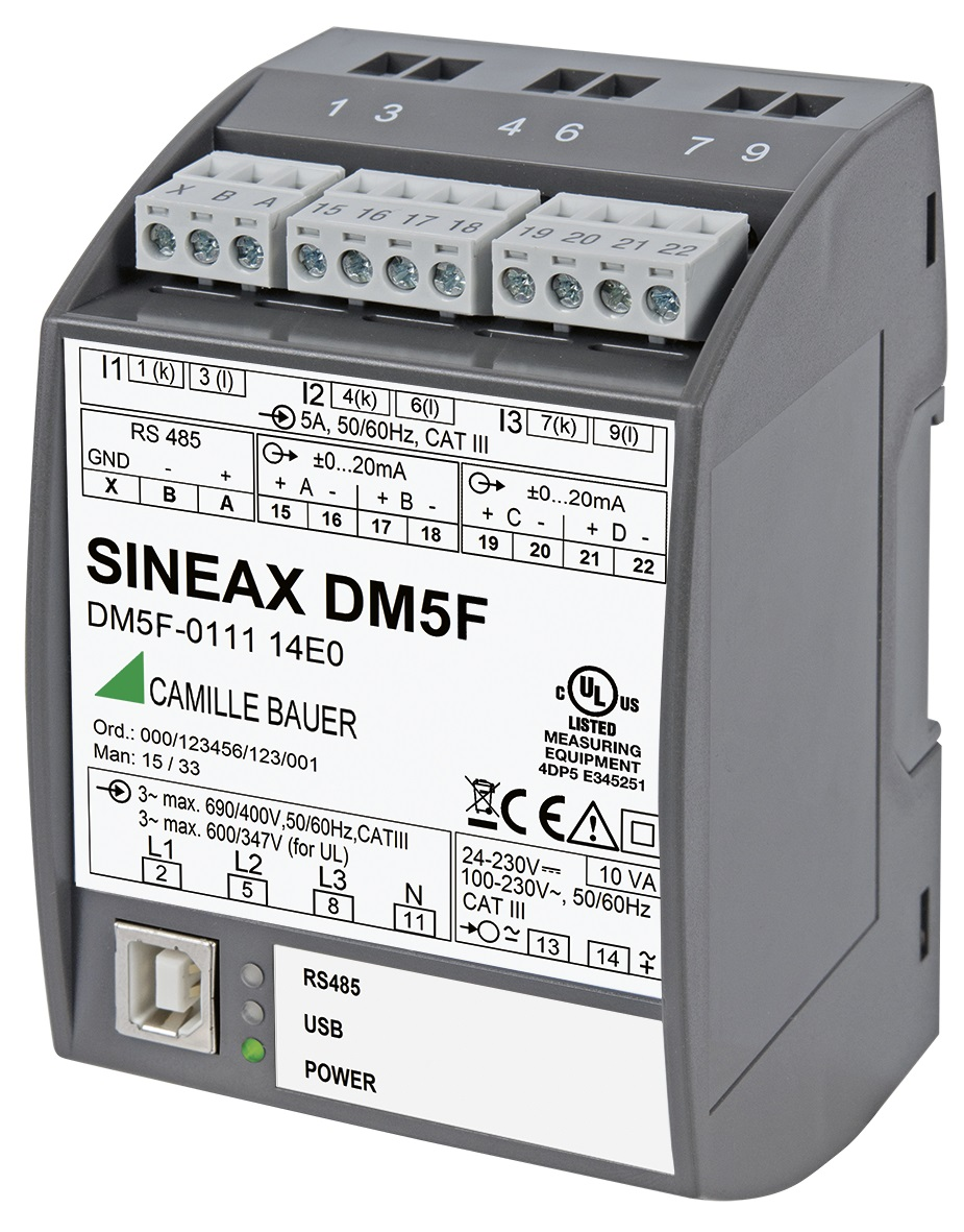 SINEAX DM5 programmable universal measurement instrument for heavy current networks