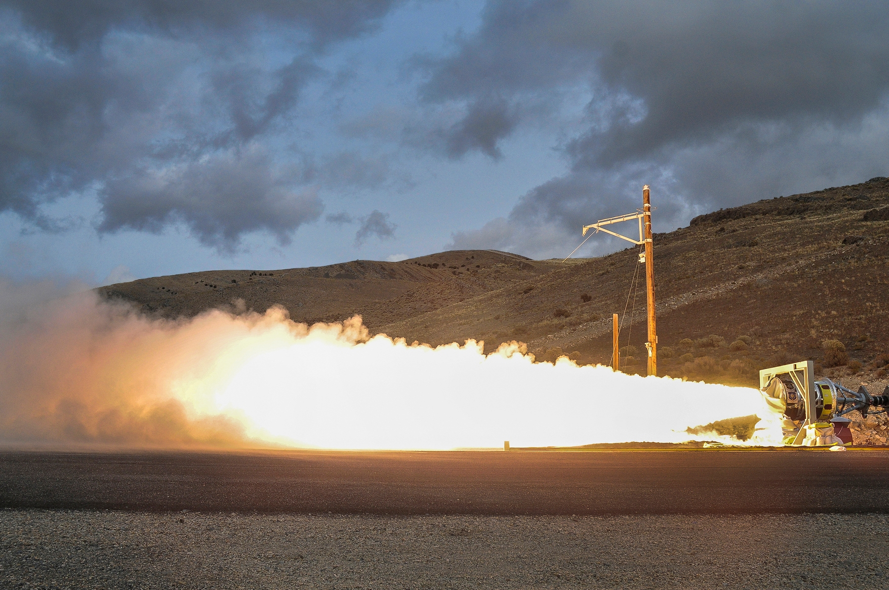 Solid rocket motor ground level fire test