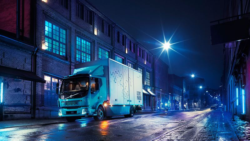 Volvo fully electric truck provides clean and quiet urban overnight deliveries