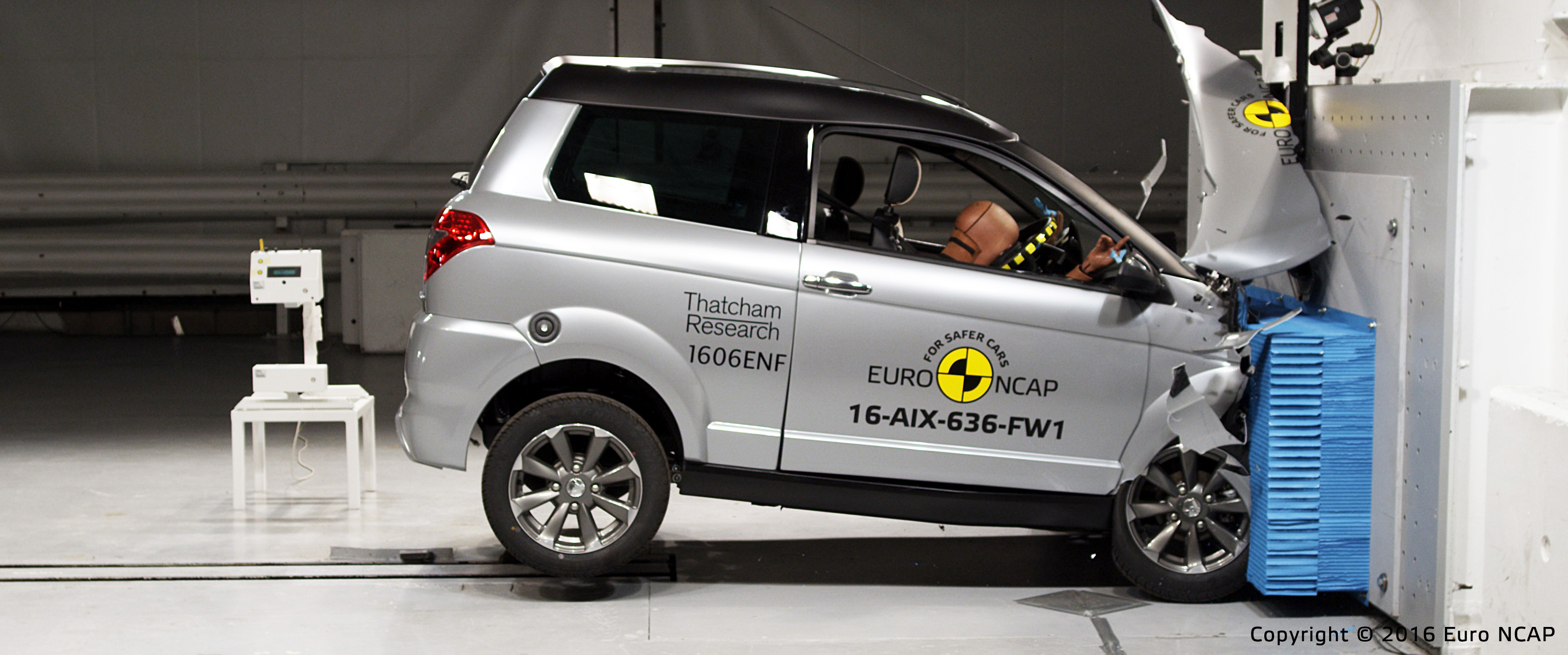 Euro NCAP frontal impact test of Aixam Crossover GTR