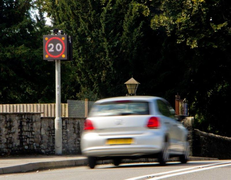 School speed limit road signs