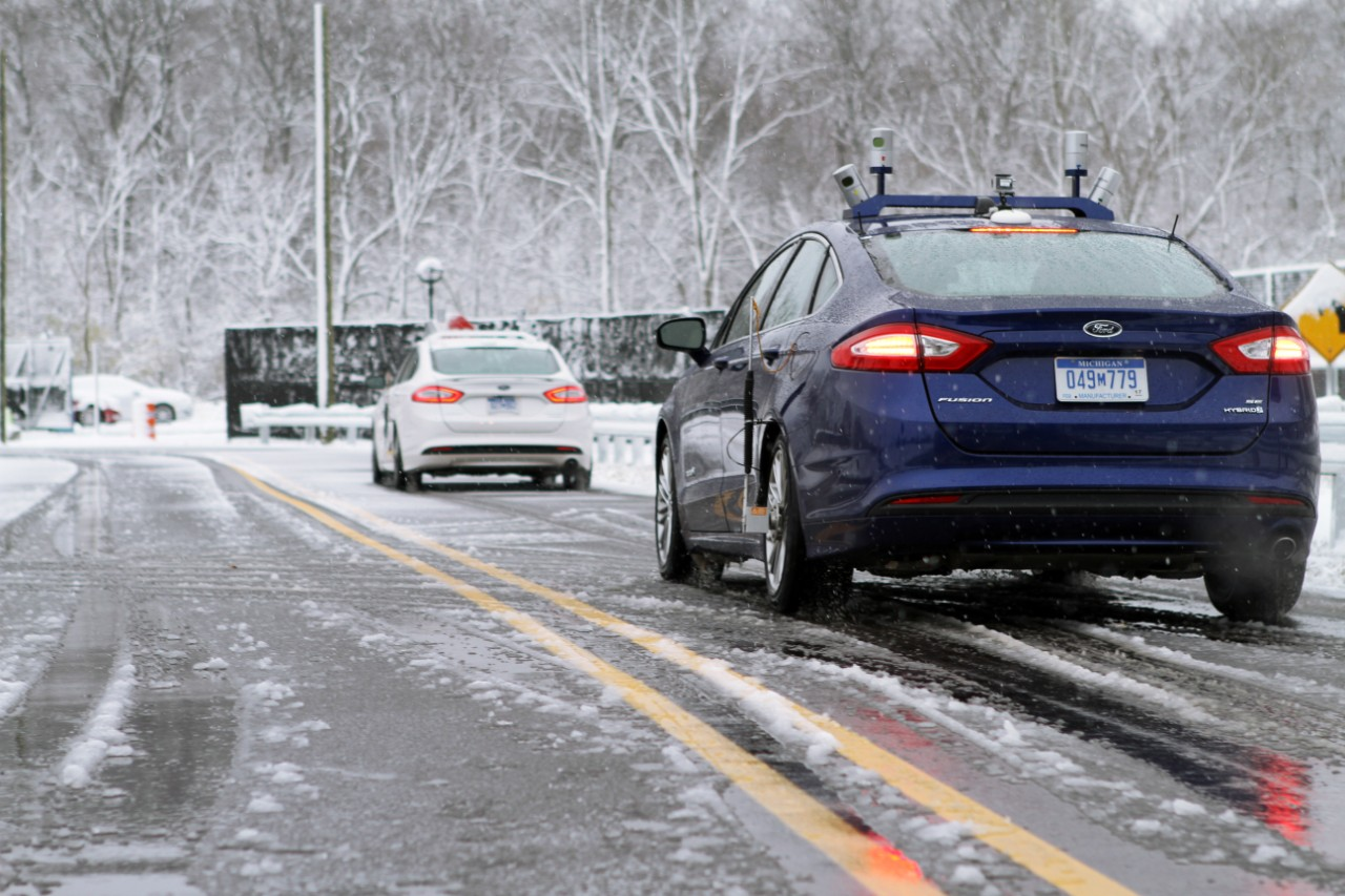 Snow tests on Ford autonomous vehicles