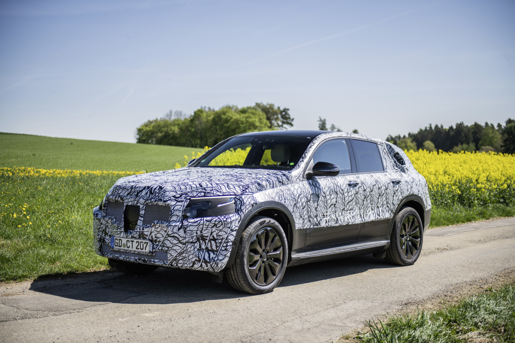 Electric Mercedes EQC in undercover testing in the Black Forest
