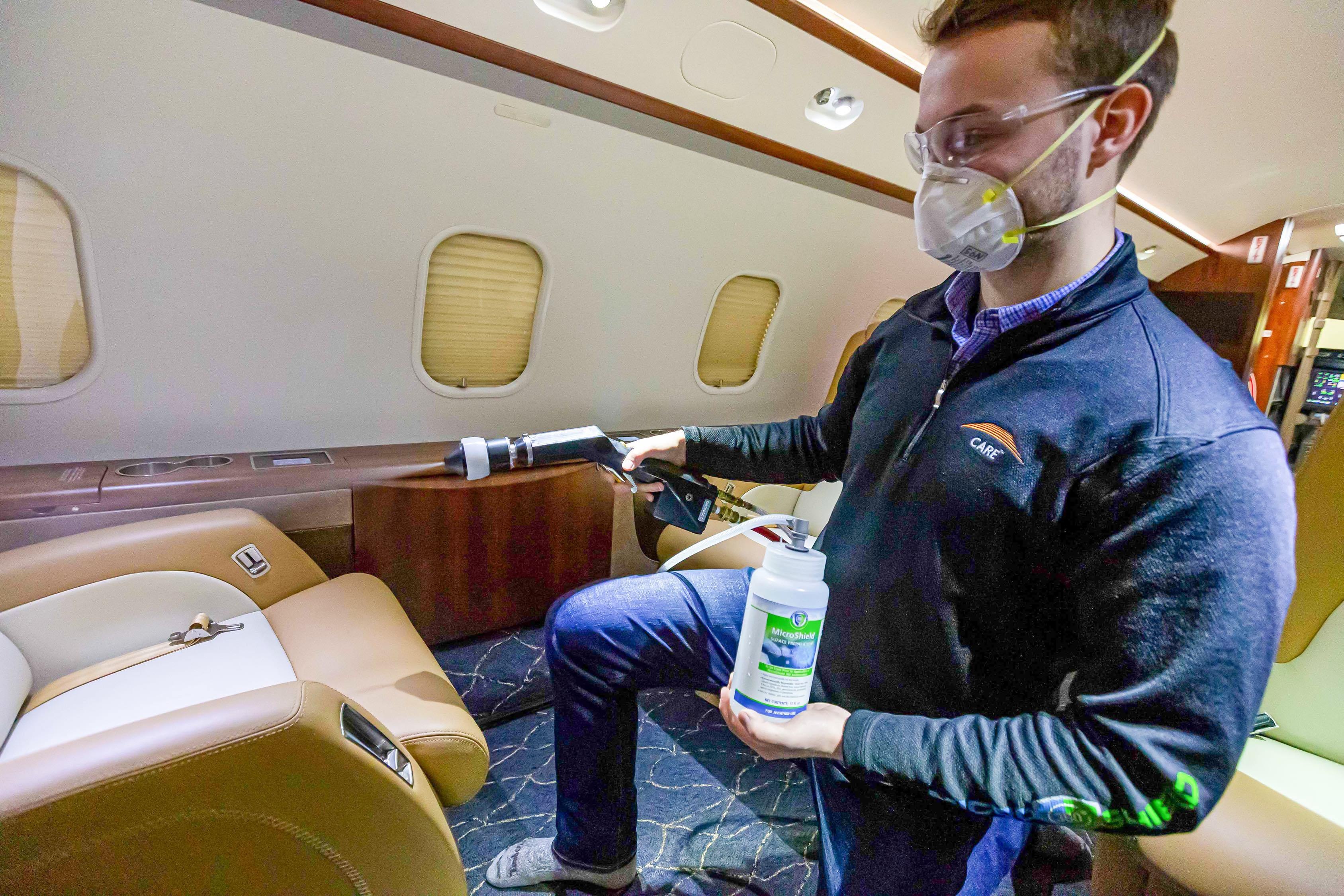 Spraying is part of a three-step antimicrobial shielding process to protect aviation passengers and crew from viruses