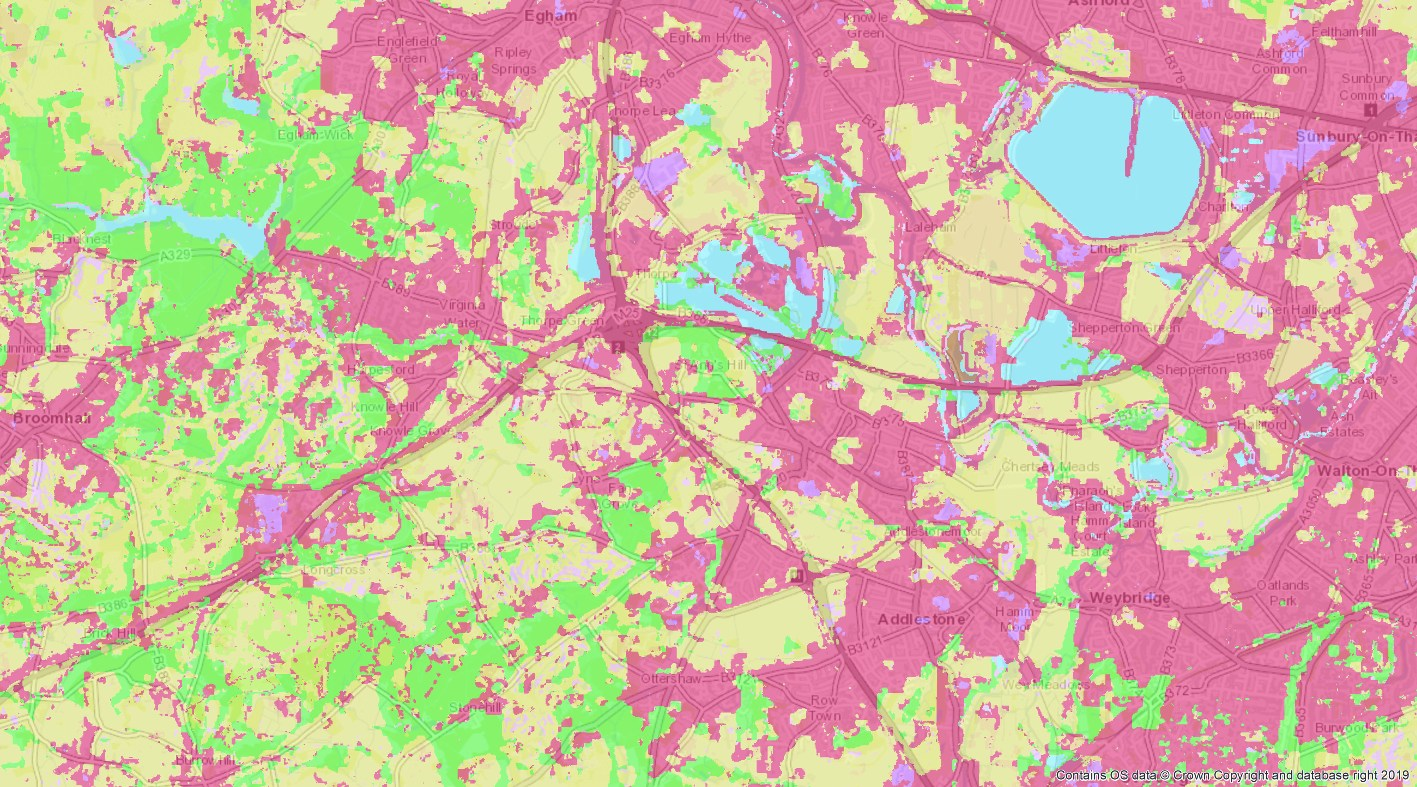 Satellite Land Cover data highlighting and measuring urban areas