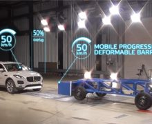 Mobile progressive deformable barrier test sets new automotive safety standard