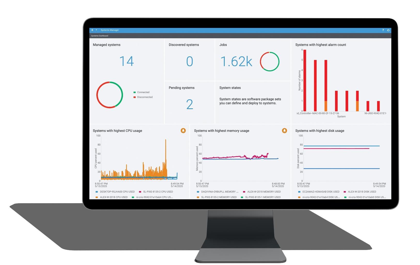 Straigtforward user interface on NI SystemLink software