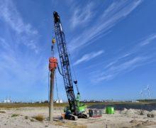 Strain gauges at Maasvlakte piledriving test site assess noise reduction measures