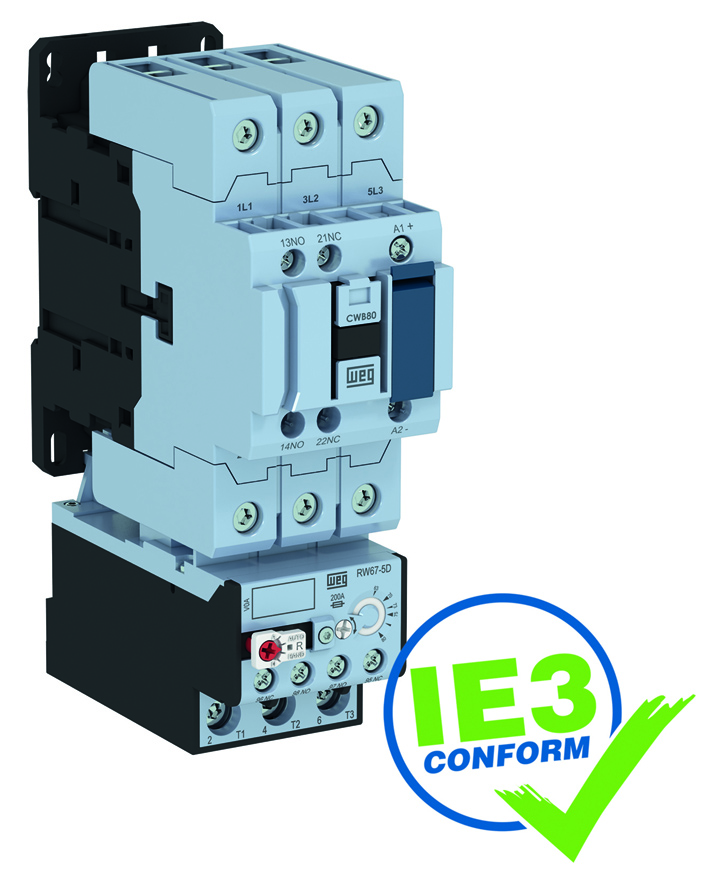 CWB power contactor combined with an RW-series thermal motor protection relay