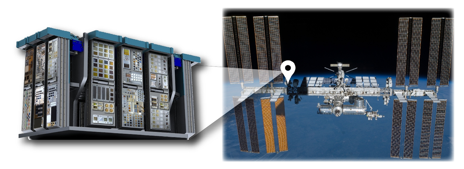 Experiments integrated into carriers and trays on the MISSE en route to the ISS