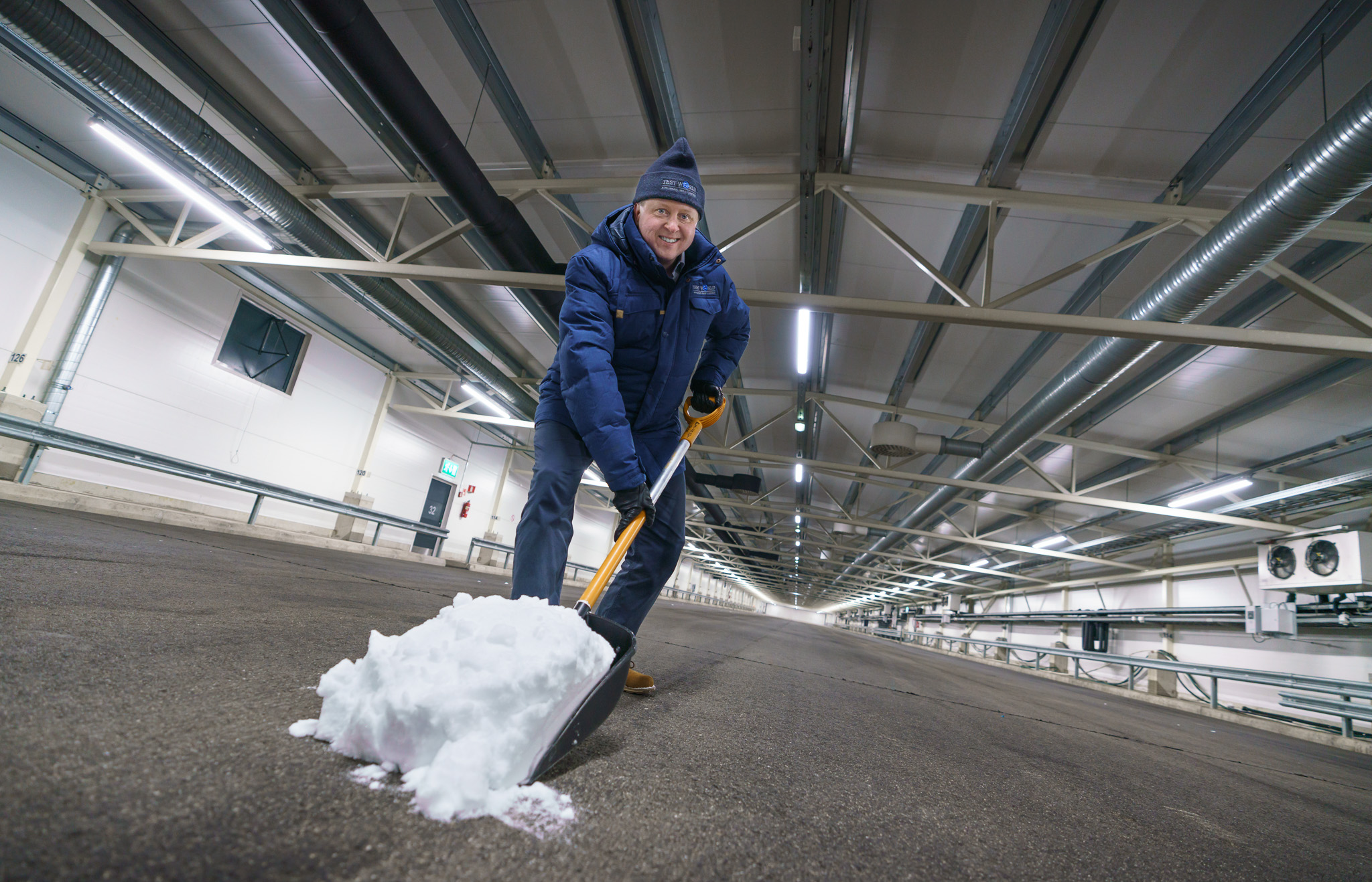 Preparations for indoor vehicle snow testing facility
