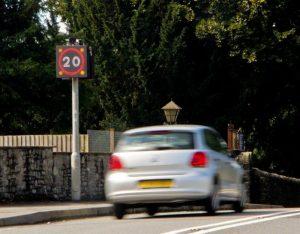School speed limit road signs
