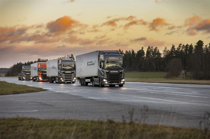 Semi autonomous platooning trucks from Scania in formation