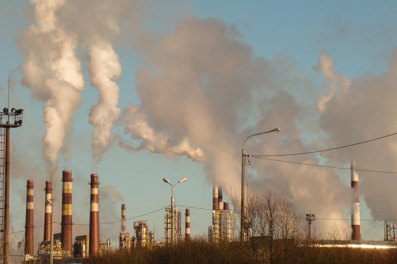 Smoking factory chimneys