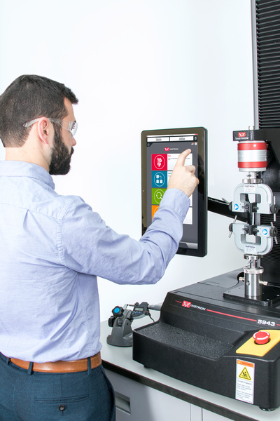 Touch screen software for materials testing